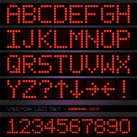 Image of a colorful red digital font set against a dark background. Vector