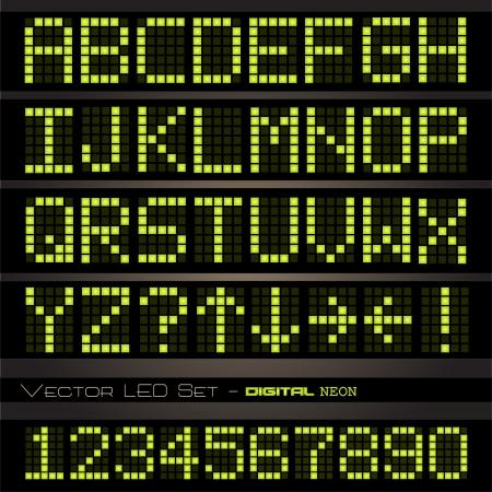 scorebord: Afbeelding van kleurrijke geel-groene neon letters op een donkere achtergrond.