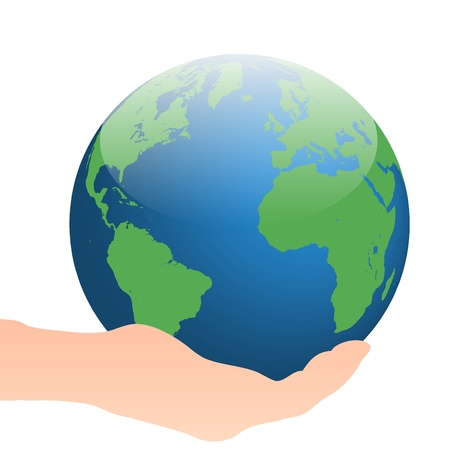Image of a hand holding the earth isolated on a white background.