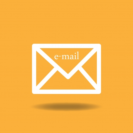 Image of an email icon against a colorful orange background. Vector