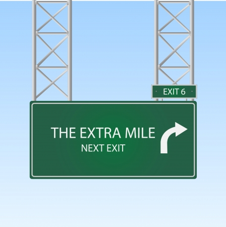 Image of a highway sign with an exit to The Extra Mile against a blue sky background.