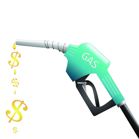 fuel gauge: Image of a gas pump with dollar signs depicting fuel isolated on a white background. Illustration