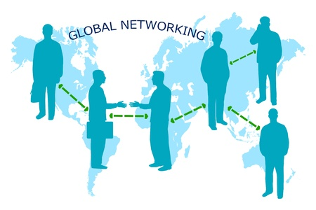 Image of a global networking business background with businessmen and map.