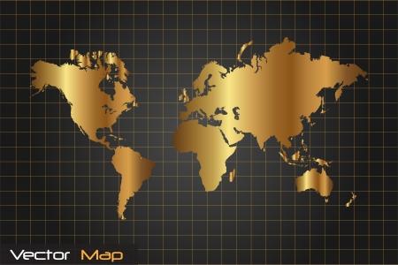 Afbeelding van een gouden en zwarte kaart van de wereld vector illustratie.