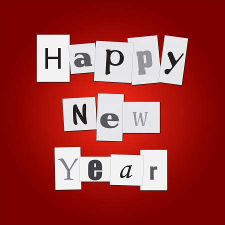 Image of clippings with the message Happy New Year on a colorful red background. Vector