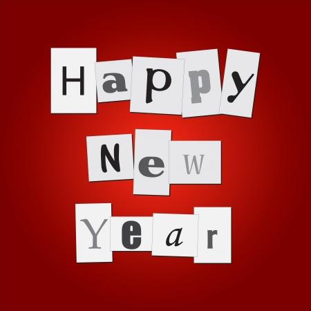 clippings: Imagen de recortes con el mensaje de Feliz A�o Nuevo en un fondo rojo colorido.