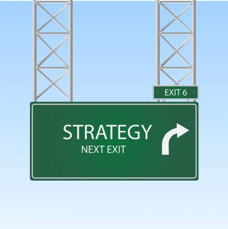 business sign: Image of a road sign with an exit to Strategy against a blue sky background.