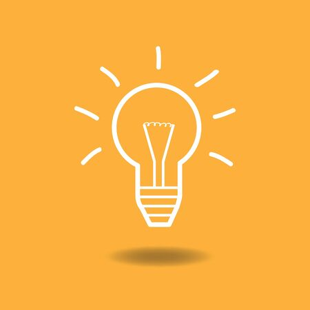 Image of a lightbulb idea illustration against a colorful background. Vector