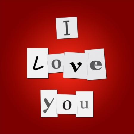 """화려한 빨간색 배경에 mesage """"나는 당신을 사랑합니다""""와 신문 스크랩의 이미지. 일러스트"""