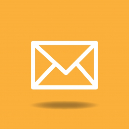 email icon: Image of a mail icon on a colorful orange background.