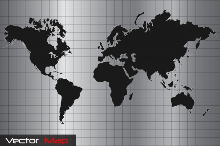 world globe map: Silver and Black World Map Vector Illustration