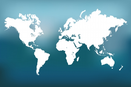 Image of a vector world map against a colorful blue sky background. Ilustração
