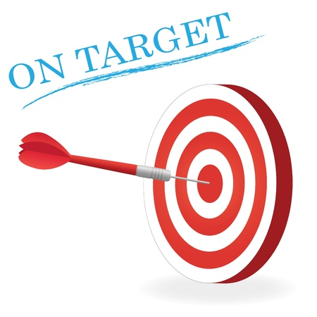 Image of a dart hitting a target isolated a white background. Ilustração