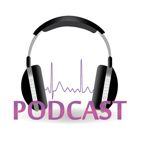 Image of a podcast image with text and headphones isolated on a white background