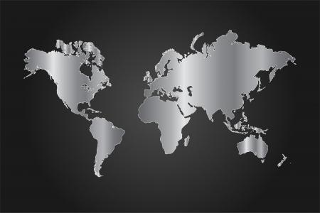 Afbeelding van een zwart en zilver wereldkaart vector illustratie op een grijze achtergrond