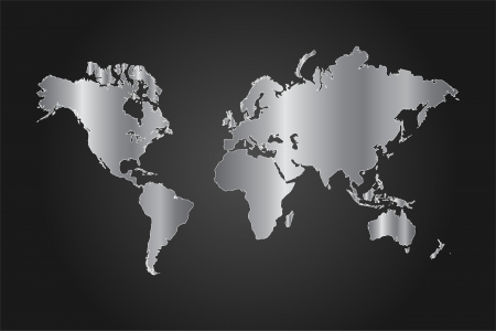 Image of a black and silver world map vector illustration on a gray background Banco de Imagens - 14921091
