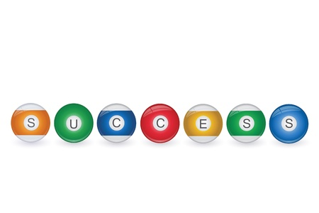 8 9: Image of billiard balls spelling Success isolated on a white background  Illustration