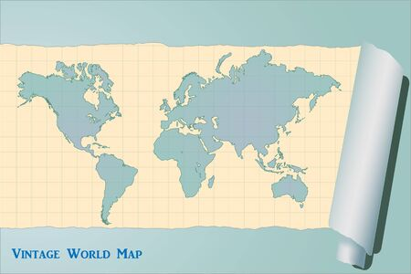 Image of a colorful, blue vintage world map  Vector