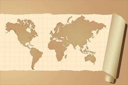 ビンテージの世界地図のベクトル画像
