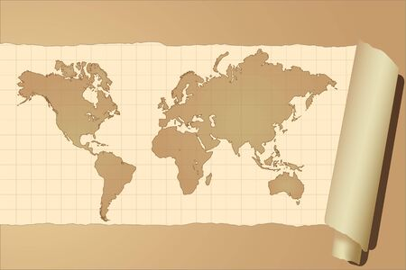 charred: Vector image of a vintage world map
