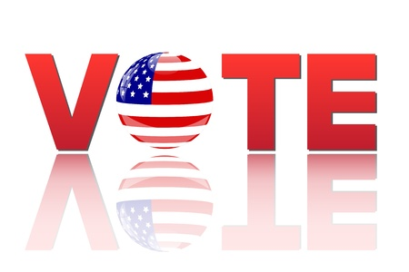 voter: Image of the word vote with the flag of the United States of America isolated on a white background