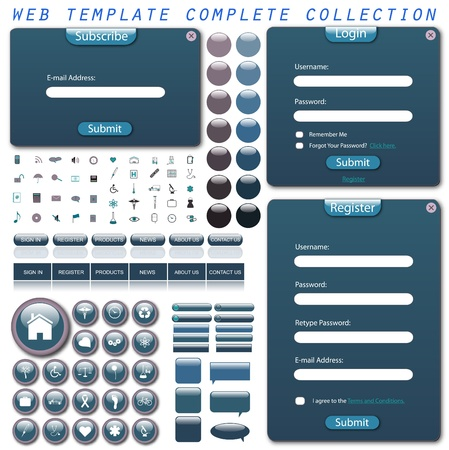 web site design: Image of a coloful, blue complete web template isolated on a white background