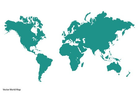 Image of a vector world map isolated on a white background