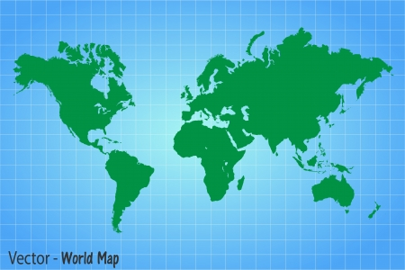 Image of a vector world map with a colorful blue background  Ilustração