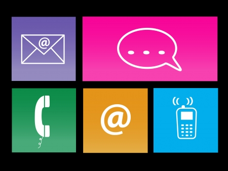 Image of various colorful communication metro icons. Vector