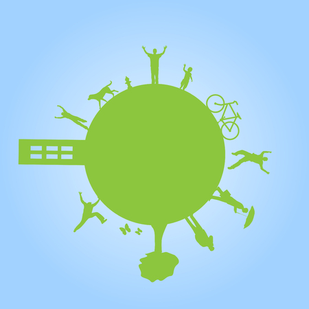 cartwheel: Image of a green planet against a colorful blue sky background.