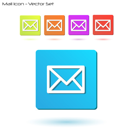 Image of various colorful mail icons isolated on a white background. Vector