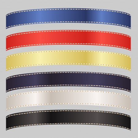 Image of a set of six colorful satin ribbons isolated on a background. Vector