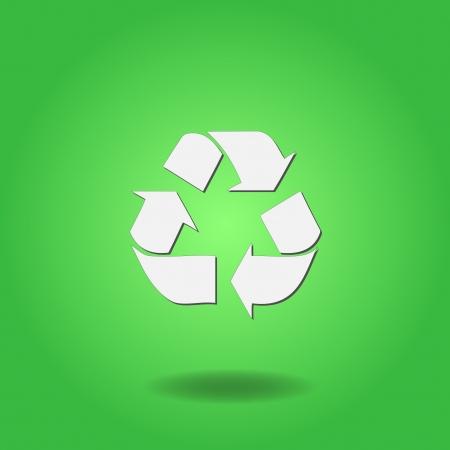 カラフルな緑の背景にリサイクル マークのイメージ。  イラスト・ベクター素材
