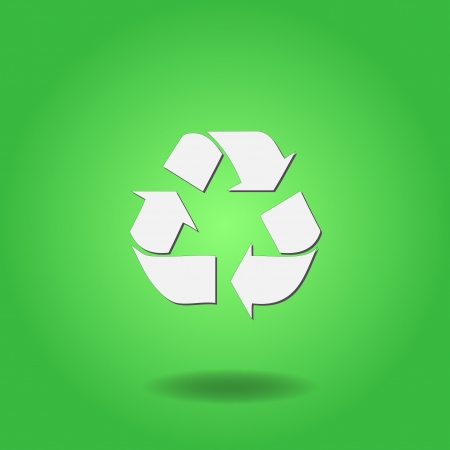 Image of a recycle symbol on a colorful green background.