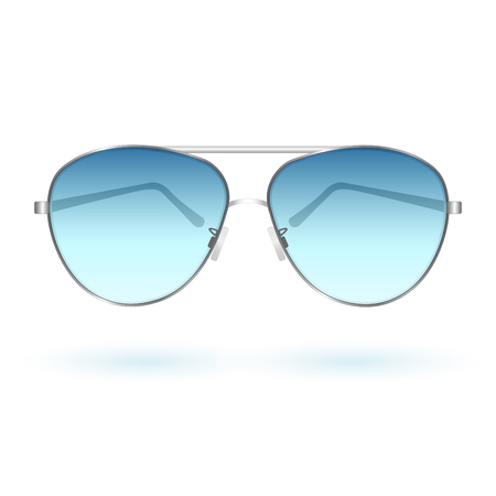 Image of colorful, blue sunglasses isolated on a white background.