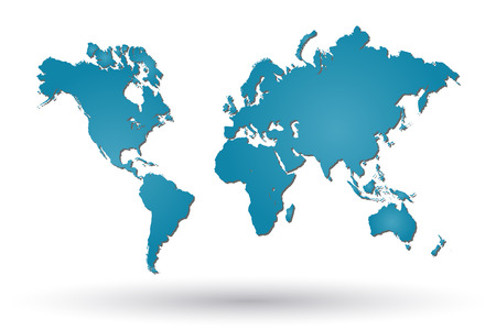 Image of a colorful world map isolated on a white background. Ilustração
