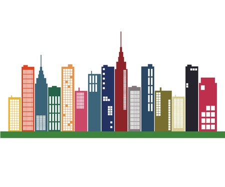 Image of a colorful city skyline. Vector