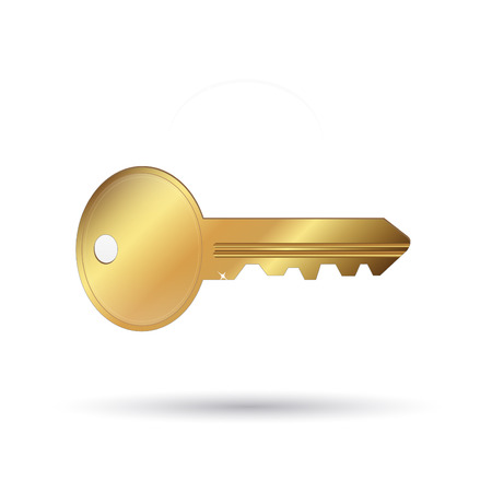 Image of a gold key isolated on a white background.