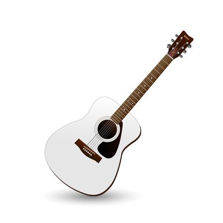 frets: Imagen de la guitarra aislado en un fondo blanco. Vectores