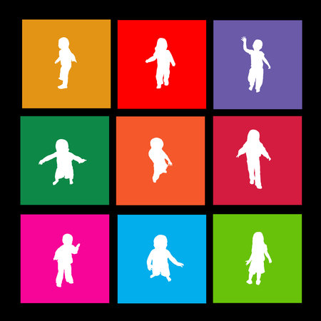 Image of various colorful kid metro icons.