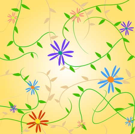 Image of a colorful seamless floral pattern. Иллюстрация