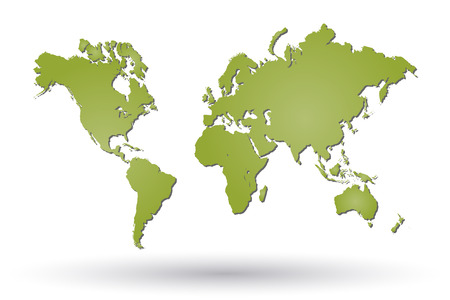 computer art: Image of a green world map isolated on a white background.