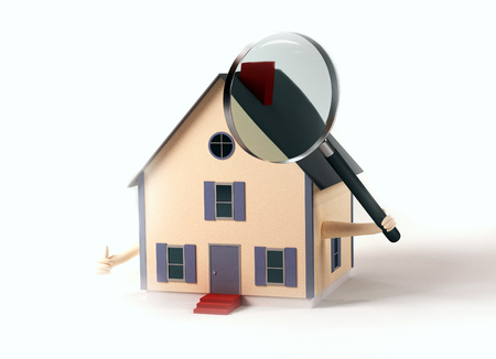 Image of a house holding a magnifying glass isolated on a white. photo