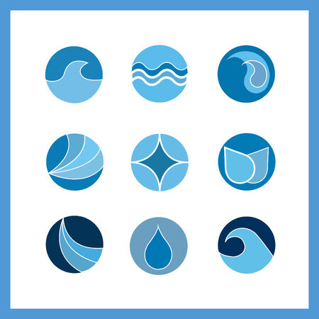 Image of a set of water icons isolated on a white background.