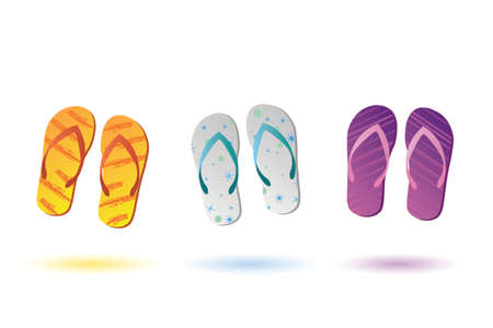 footware: Image of colorful sandals isolated on a white background. Stock Photo