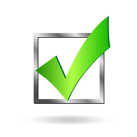 Image of a box being checked by a green check mark isolated on a white background.