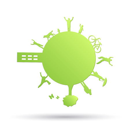 cartwheel: Image of a green planet with objects isolated on a white background.