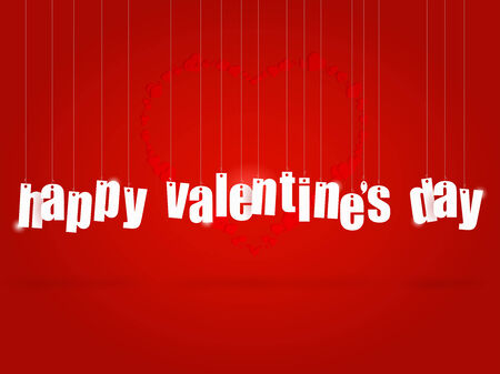 Image of hanging text with the message Happy Valentine's Day. photo