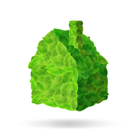 Image of a house made of leaves isolated on a white background. photo