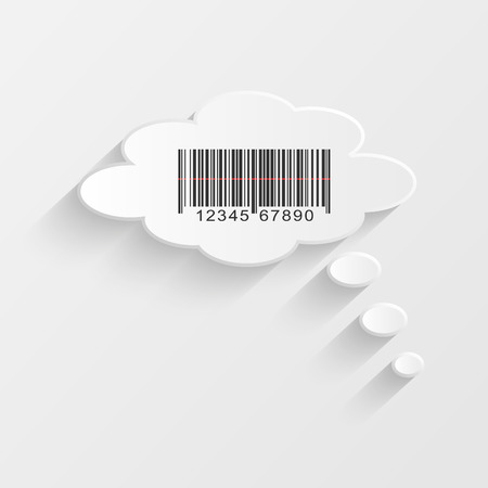 Illustration of a barcode inside of a chat bubble. Vector